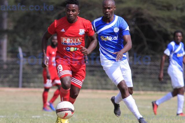 Sofapaka Hilary Echesa with Posta rangers FC player