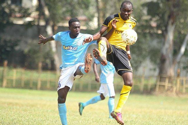Magonya of Sofapaka tackling the ball against tusker player