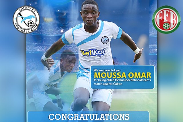 Congratulations to Moussa Omar for being called to represent Burundi in their game against Gabon