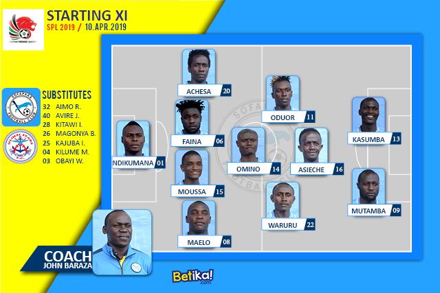 Lineup ya Sofapaka fc vs Ulinzi Stars fc at Machakos, SPL 2019