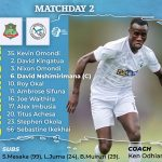 MATCHDAY TWO LINEUP AGAINST NZOIA FC